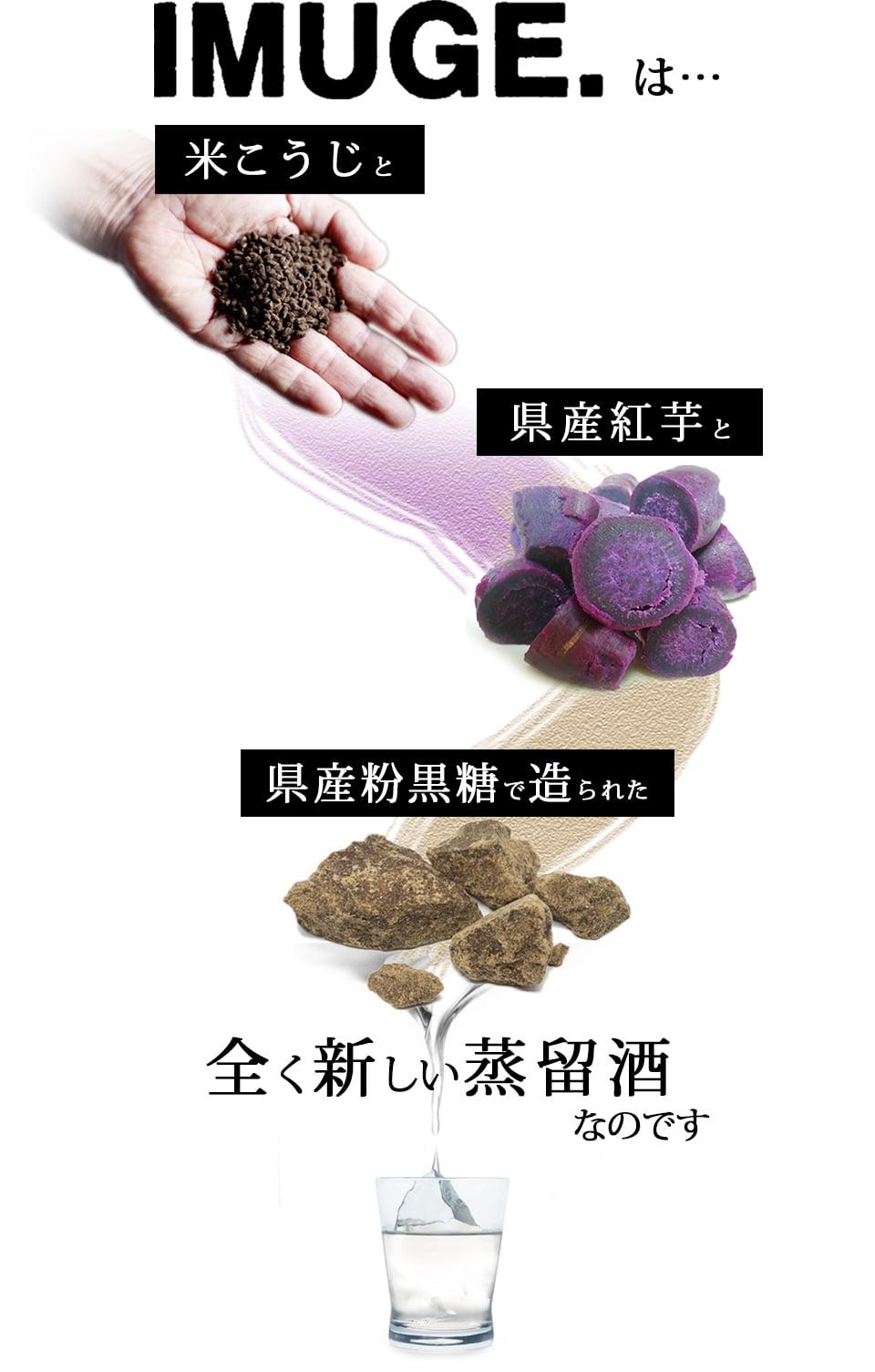 材料は黒麹・紅芋・粉黒砂糖